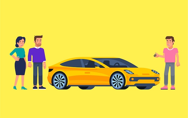 Fahrgemeinschaft und carsharing-illustration