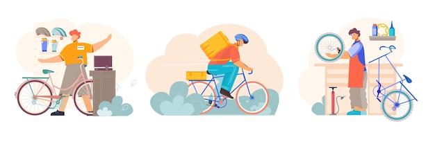 Fahrrad 3 kompositionen mit ersatzteilzubehör shop verkäufer reparaturmann service fahrrad kurier lieferung
