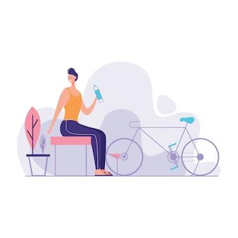 Fahrrad, das in der bank sich entspannt