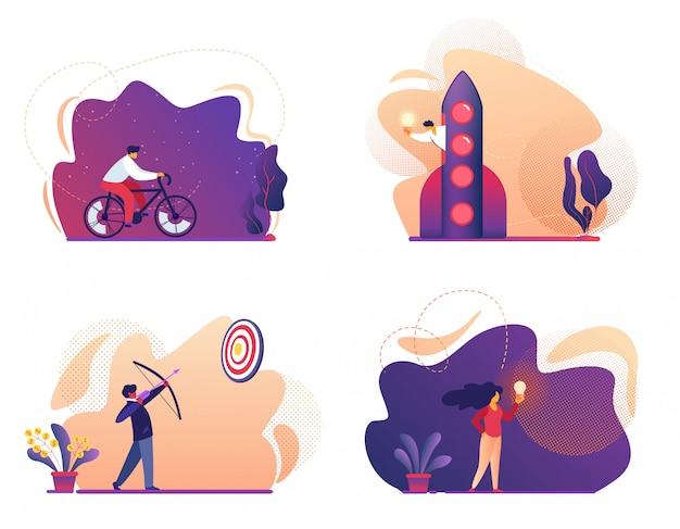 Fahrrad fahren, bogenschießen mit bogen zum ziel, mann fliegen auf rakete, mädchen mit glühbirne. illustration