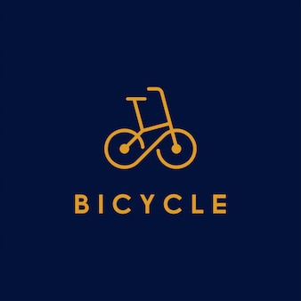Fahrrad, fahrrad, fahrradlinienkunstlogo mit unendlichkeitssymbol im rad