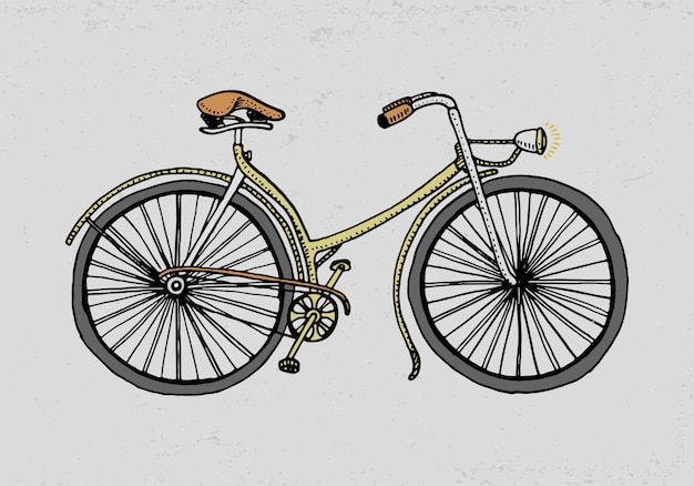 Fahrrad, fahrrad oder velocipede. reiseillustration. gravierte hand gezeichnet im alten skizzenstil, weinlesetransport.