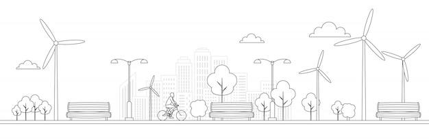 Fahrrad in einem park mit bank und papierkorb.