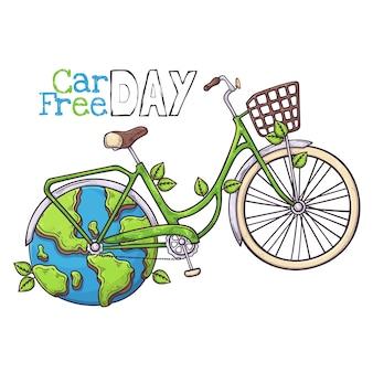 Fahrrad ist ein symbol für den autofreien welttag.