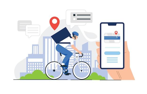 Fahrrad-lieferservice in der stadt