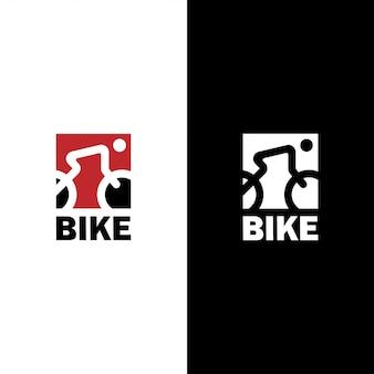 Fahrrad-logo mit strichzeichnungen von radfahrer und fahrrad in quadratischer form