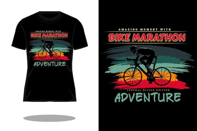 Fahrrad-marathon-silhouette retro-t-shirt-design