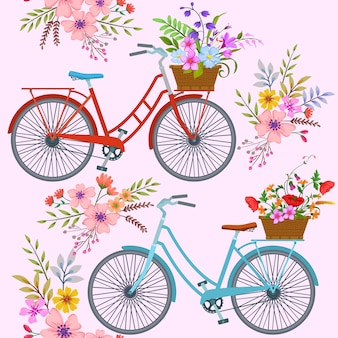 Fahrrad mit blumenmuster.