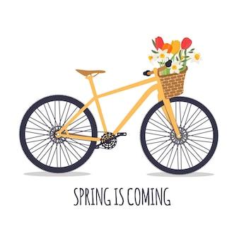 Fahrrad mit einem blumenstrauß der frühlingsblumenillustration