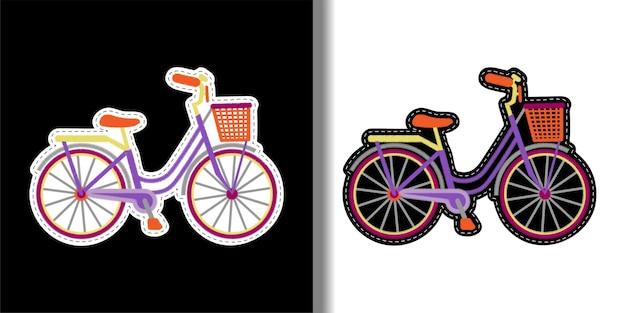 Fahrrad mit korb-stickerei-patch-set frau romantische handarbeiten textil-t-shirt druckt aufkleber