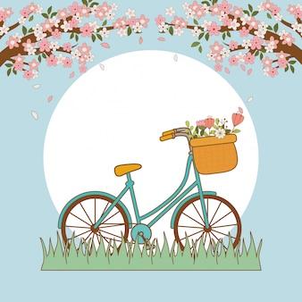 Fahrrad mit korb und blumen in der landschaft