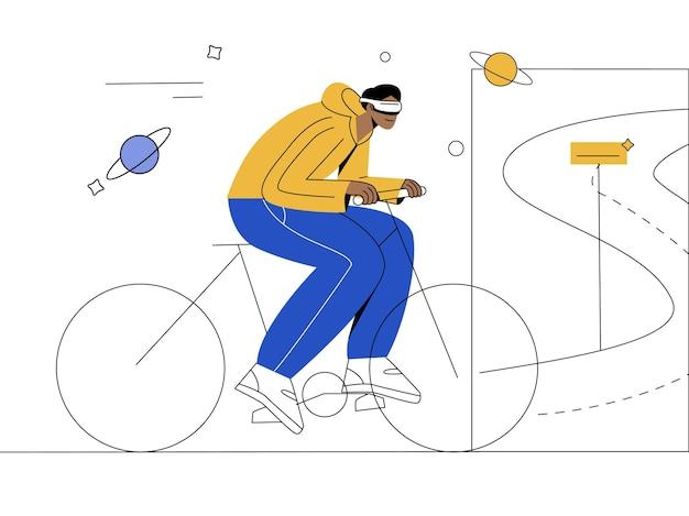 Fahrrad mit vr-flacher illustration