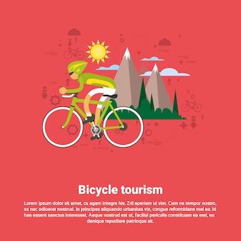 Fahrrad-reise-gebirgstourismus-netz-fahne