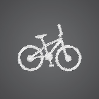 Fahrrad-skizze-logo-doodle-symbol auf dunklem hintergrund isoliert