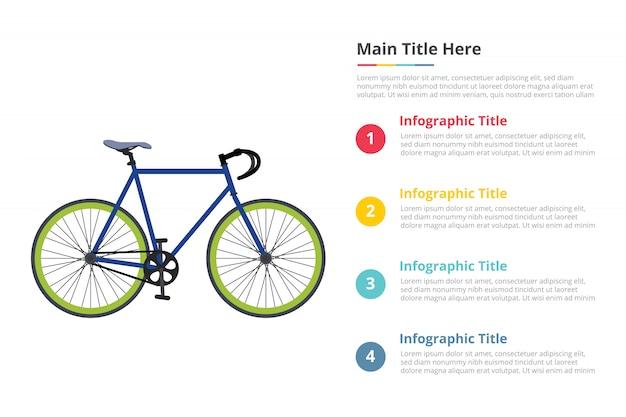 Fahrrad sport geschwindigkeit infografiken vorlage mit vier punkten