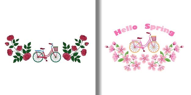 Fahrrad- und blumenstickmuster-set frau romantische kompositionen textil- und t-shirt-drucke