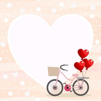 Fahrrad- und herzballonhintergrund.