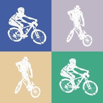Fahrrad- und radfahrermannillustration. kreatives und sportliches bild