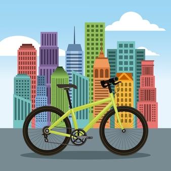 Fahrrad- und stadtgebäudestadtlandschaft