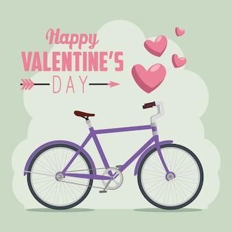 Fahrrad zum valentinstag feiern
