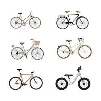 Fahrraddesign, realistische fahrradillustrationen eingestellt