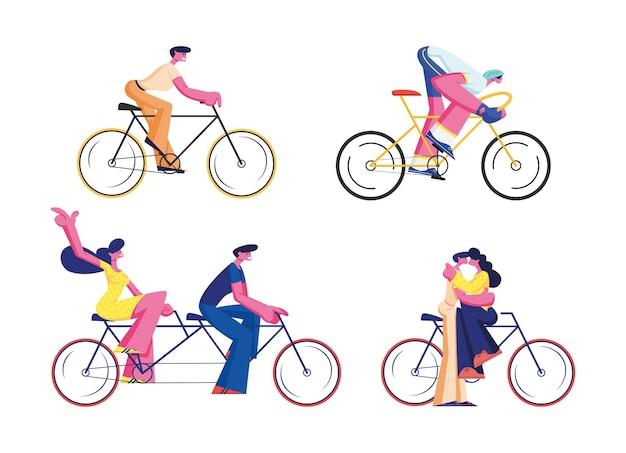 Fahrradfahrer set isoliert auf weißem hintergrund. karikatur flache illustration