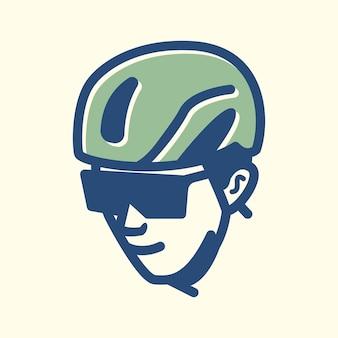 Fahrradfahrer-vintage-designlinie, perfekt für logo, symbol, druck usw.
