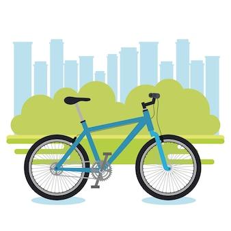 Fahrradfahrzeug mit stadtbildhintergrund