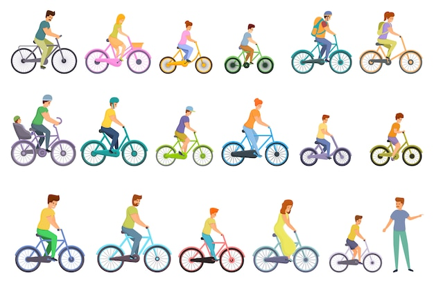 Fahrradfamilienikonen eingestellt, karikaturstil