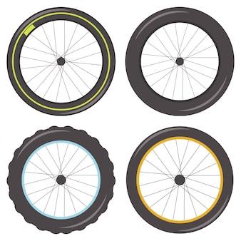 Fahrradfelge mit speichen verschiedener typen mit sportlichen, fetten, noppenartigen und klassischen reifen. icons set isoliert