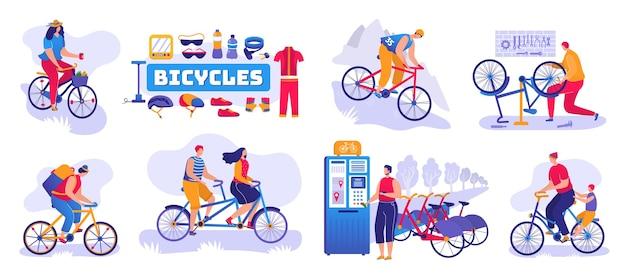 Fahrradgeschäftssatz isoliert. fahrrad- und fahrradladen, reparaturwerkstatt