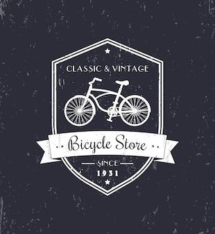 Fahrradladen, weinlese-schmutzentwurf, weiß auf dunkel, illustration