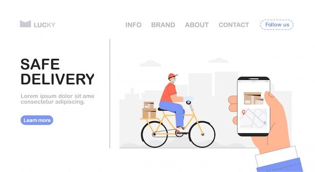 Fahrradlieferungs- und kurierdienstkonzept, lieferbote fährt ein fahrrad mit lieferbox, hand hält ein telefon mit tracking-kurierstandort.