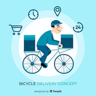 Fahrradlieferungskonzept in der flachen art