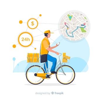 Fahrradlieferungskonzept mit paketen