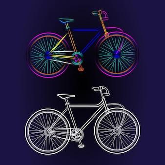 Fahrradlinienzeichnung im neonstil