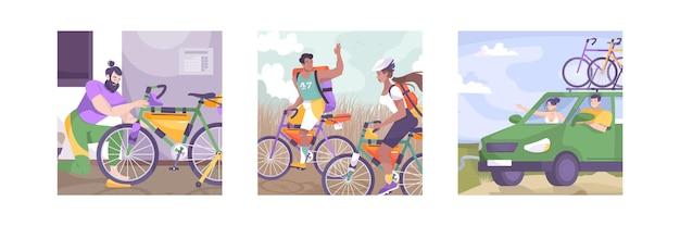 Fahrradtourismus-illustrationsset mit autofahrt zu fuß und reisegebühren
