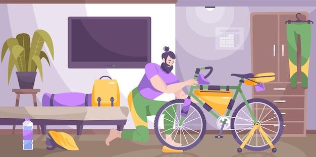 Fahrradtourismusausrüstung flacher zusammensetzungsmann, der zu hause sachen auf einem fahrrad verpackt
