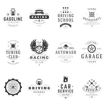 Fahrschulen und autoservice-logos gesetzt. black club street racer mit professioneller tuning-reparatur. extremes fahrtraining mit technischer servicestation. highspeed-abenteuer und reisen.