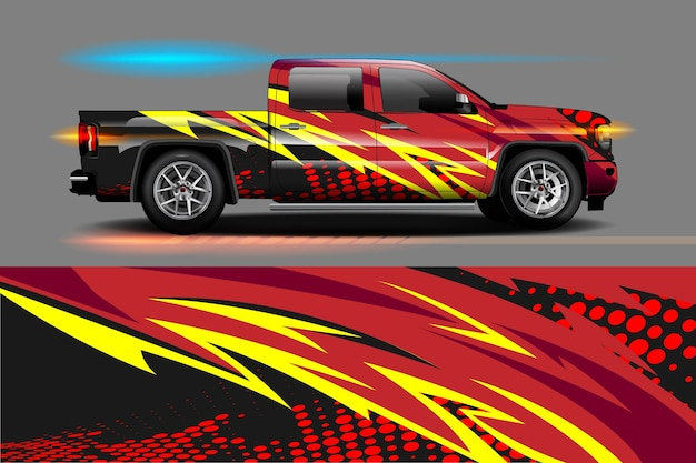 Fahrzeug vinyl wrap design mit rennstreifen streifen abstrakten hintergrund
