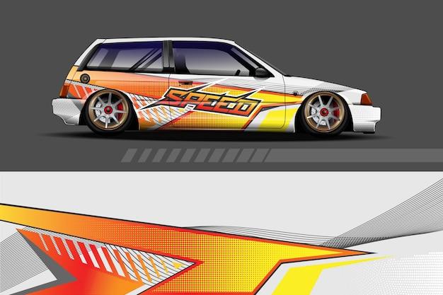 Fahrzeug vinyl wrap design mit sportlichem abstrakten hintergrund