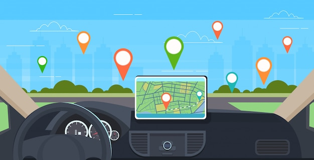 Fahrzeugcockpit mit intelligenter fahrunterstützung automobilcomputer gps-navigationssystem auf armaturenbrettbildschirm multimedia-konzept moderner fahrzeuginnenraum horizontal