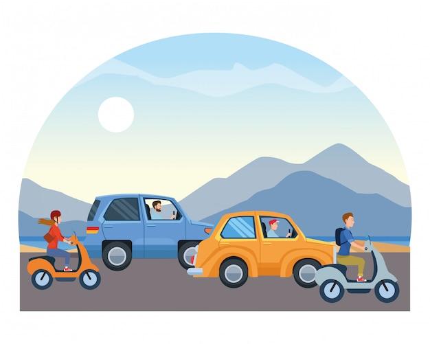 Fahrzeuge und motorräder mit fahrer fahren