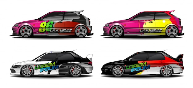 Fahrzeuggrafik-kit. abstrakter gebogener hintergrund für design von rennwagen-, van- und lkw-abziehbildern