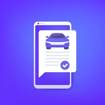 Fahrzeughistorienbericht, online-check, vektordesign