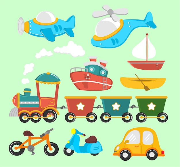 Fahrzeugkarikaturillustration für kinder