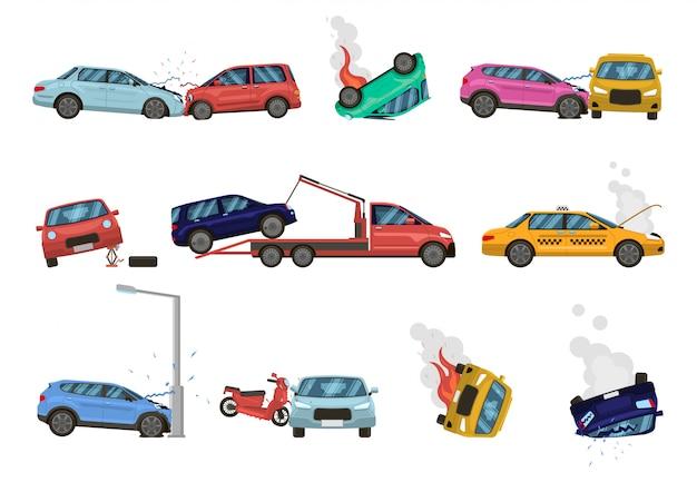 Fahrzeugschaden. transportunfall und gefährlicher schaden, kaputte, gebrochene fahrzeuge, verschiedene unangenehme situationen auf stadtstraßenillustrationssatz. hilfe für beschädigte autos, versicherungssymbole