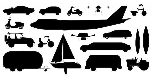 Fahrzeugtransport-silhouette. öffentlicher, privater personenverkehr. isoliertes autoauto, bus, flugzeug, wohnwagen, drohne, segelyacht, flache symbolsammlung des fahrradtransportfahrzeugs