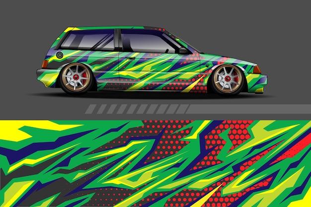 Fahrzeugverpackung und vinylaufkleberentwurf mit abstraktem hintergrund des rennens
