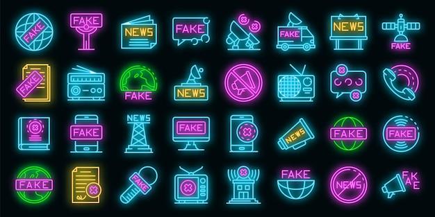 Fake-news-icons gesetzt. umrisse von gefälschten nachrichtenvektorsymbolen neonfarbe auf schwarz